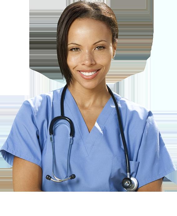 Mulher com roupas e equipamentos para médicos
